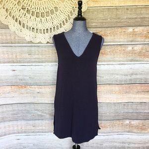 Ann Taylor Navy Blue Side Slit Tunic Shift Dress